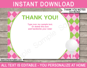 Golf Birthday Party Thank You Cards Template – Pink/green for Soccer Thank You Card Template