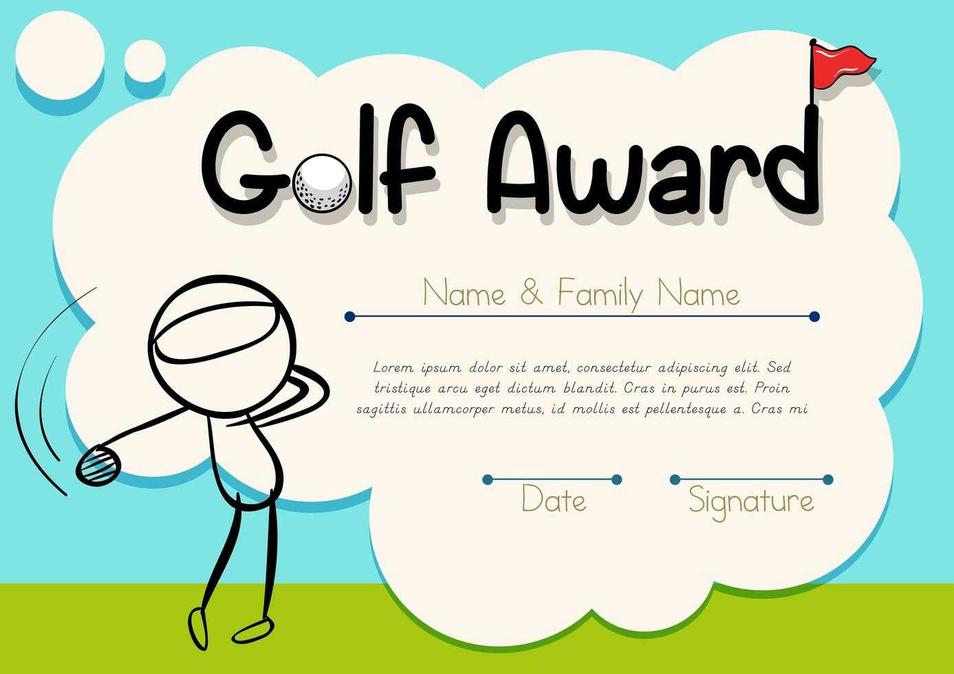 Golf Cartoon Certificate Template - Download Free Vectors For Golf Certificate Template Free