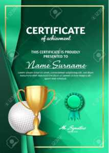 Golf Certificate Diploma With Golden Cup Vector. Sport Award.. Inside Golf Certificate Template Free