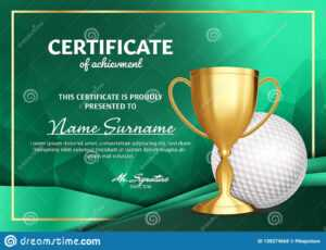 Golf Certificate Diploma With Golden Cup Vector. Sport Award intended for Golf Gift Certificate Template