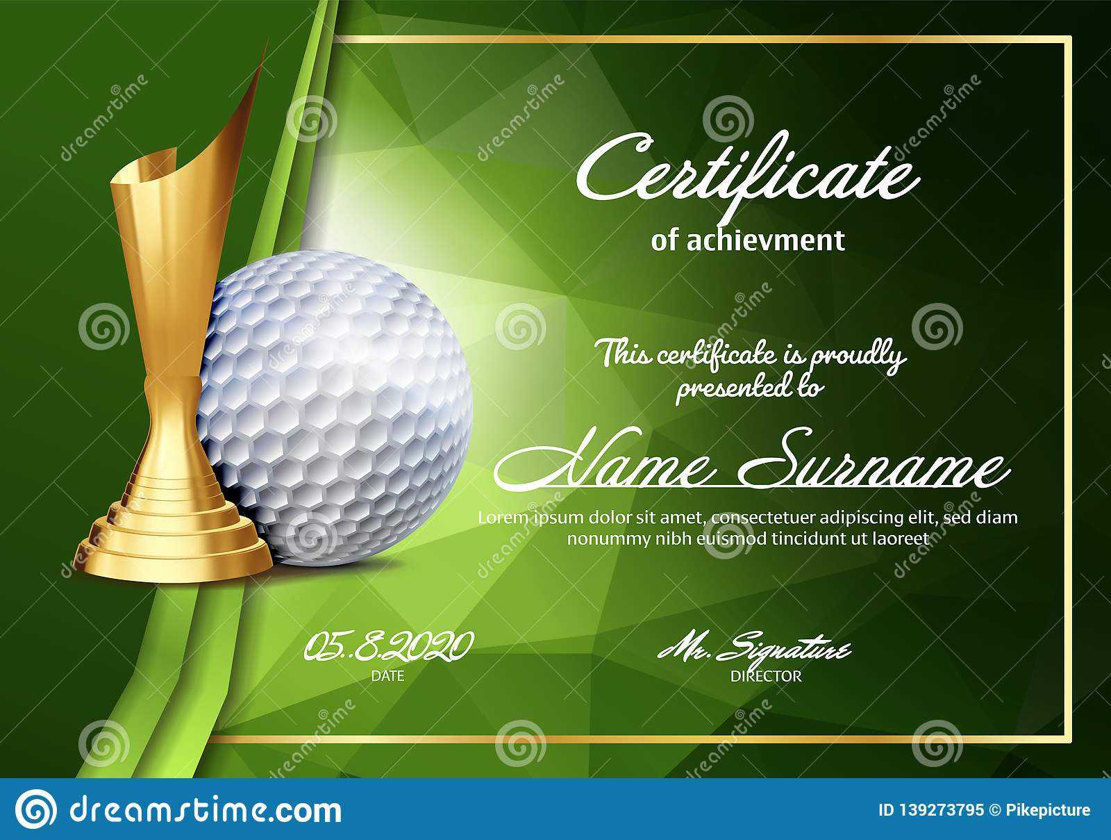 Golf Certificate Diploma With Golden Cup Vector. Sport Throughout Golf Certificate Template Free