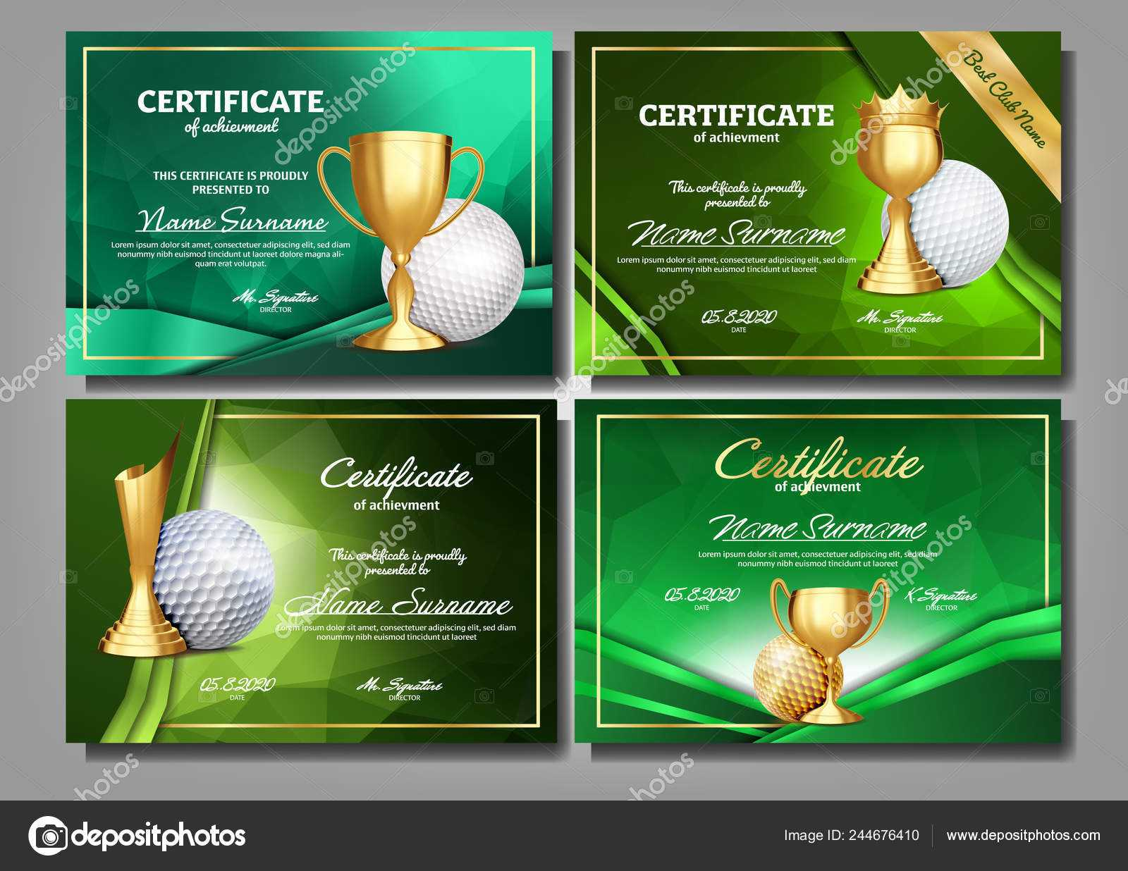 Golf Game Certificate Diploma With Golden Cup Set Vector Pertaining To Golf Certificate Template Free