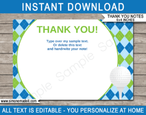 Golf Party Thank You Cards Template – Blue/green with Soccer Thank You Card Template