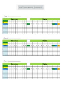 Golf Tournament Scorecard Template | Mydraw throughout Golf Score Cards Template