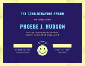 Good Behaviour Fun Certificate – Templatescanva within Fun Certificate Templates
