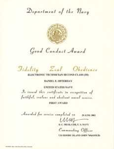 Good Conduct Medal | Daniel Osterday with Good Conduct Certificate Template