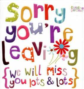 Good Luck We Will Miss You Clipart regarding Sorry You Re Leaving Card Template