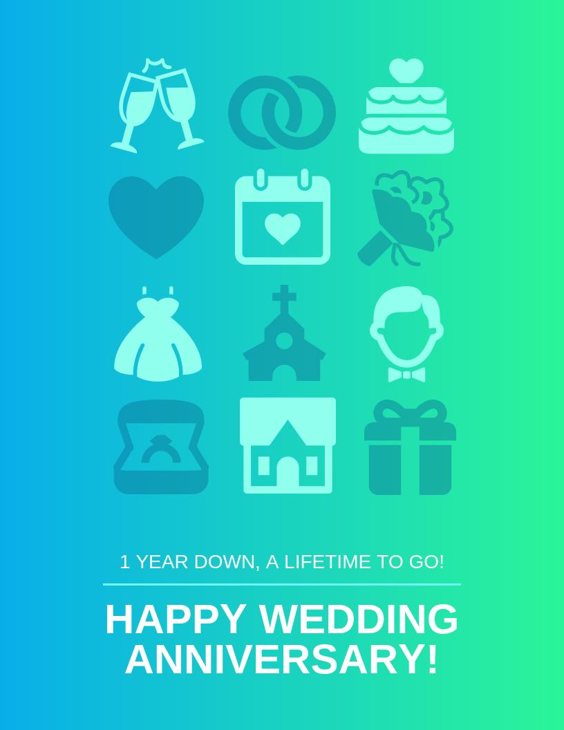 Gradient Wedding Anniversary Card Template In Template For Anniversary Card