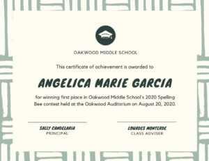 Green And Cream Spelling Bee School Certificate – Templates regarding Spelling Bee Award Certificate Template