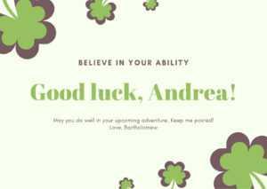 Green And Yellow Shamrock Good Luck Card – Templatescanva in Good Luck Card Template