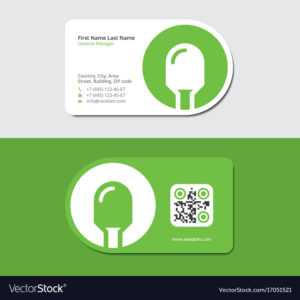 Green Business Card With Electric Lamp And Qr Code for Qr Code Business Card Template