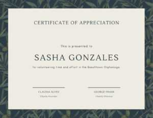 Green Olive Tree Leaves Volunteer Appreciation Certificate in Volunteer Certificate Template