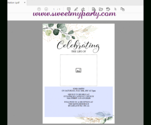 Greenery Funeral Invitation Template,greenery Funeral Announcement, (157) in Funeral Invitation Card Template