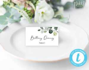 Greenery Place Card Template, Wedding Place Cards, Escort Cards, Editable  Place Cards, Wedding Name Cards, Wedding Table Cards, Wbge with Fold Over Place Card Template