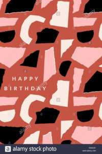 Greeting Card Template With Paper Cut Shapes In Black within Birthday Card Collage Template