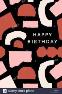 Greeting Card Template With Paper Cut Shapes In Cream throughout Birthday Card Collage Template