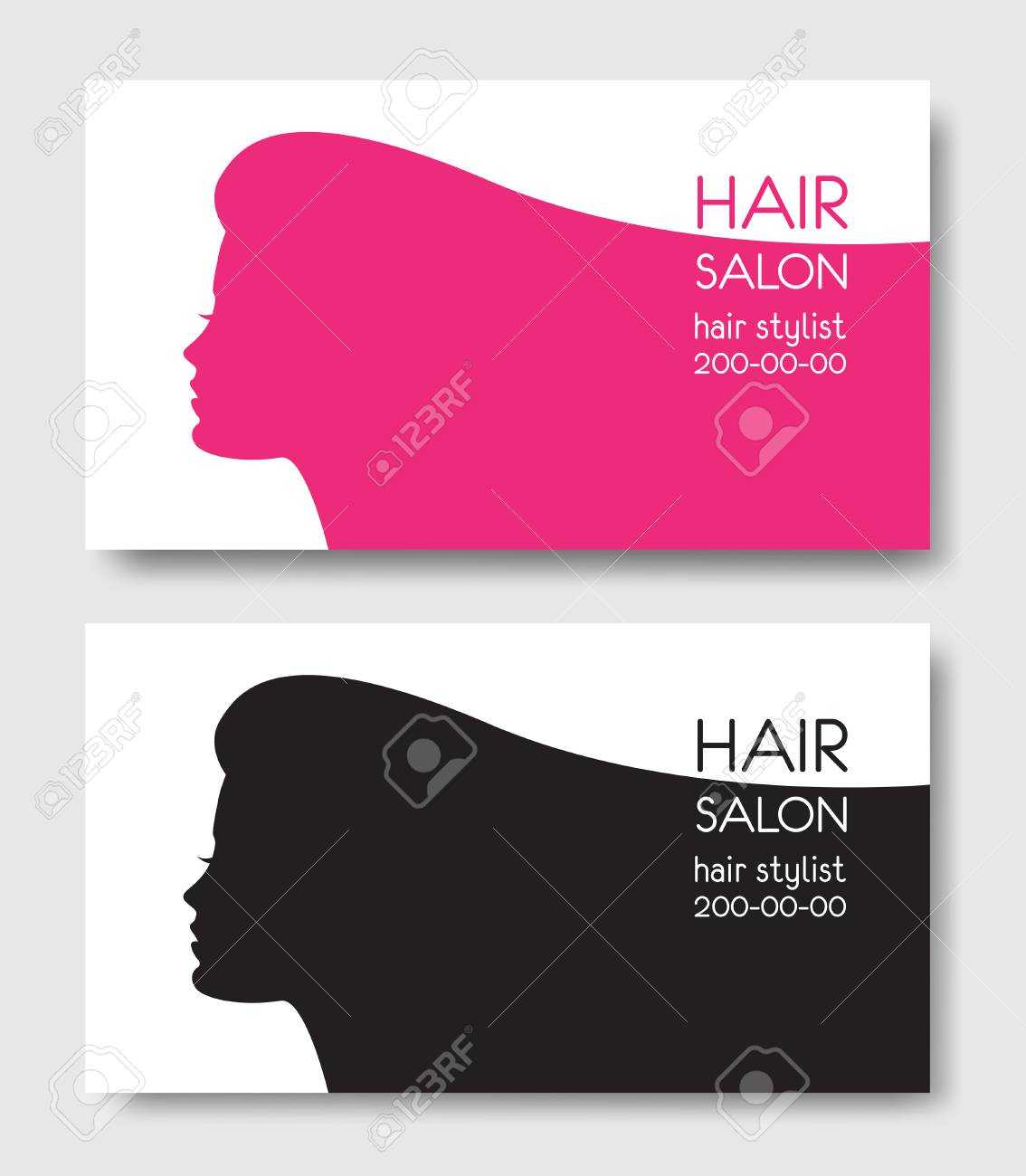 Hair Salon Business Card Templates With Beautiful Woman Face Sil With Regard To Hair Salon Business Card Template