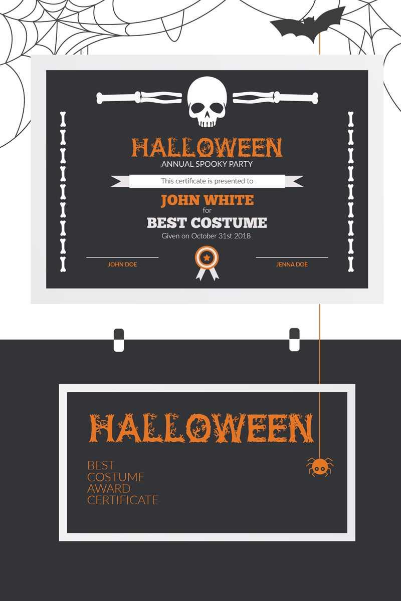 Halloween Best Costume Award Certificate Template In Halloween Costume Certificate Template