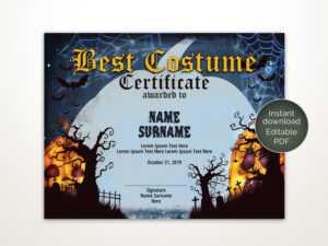Halloween Best Costume Certificate Editable Template Costume Award  Printable Certificate Template Instant Download throughout Halloween Certificate Template