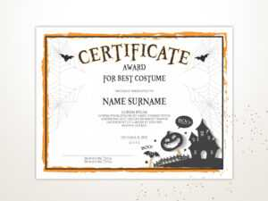 Halloween Blank Certificate Template, Editable, Printable Certificate  Template, Halloween Award, Instant Download inside Halloween Costume Certificate Template