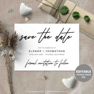 Handwritten Save The Date Card, Printable Save The Date, Calligraphy  Elegant Wedding Template, Editable Pdf Card Instant Download Hfs20 with Save The Date Powerpoint Template
