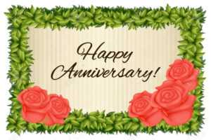 Happy Anniversary Card Template With Red Roses Illustration with regard to Template For Anniversary Card