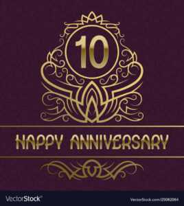 Happy Anniversary Greeting Card Template For Ten with regard to Template For Anniversary Card
