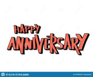 Happy Anniversary Text. Vector Word With Decor Stock Vector throughout Anniversary Card Template Word