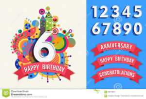 Happy Birthday Greeting Card Number Set Template Stock pertaining to Greeting Card Template Powerpoint