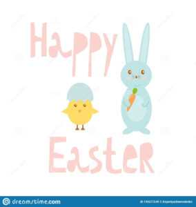 Happy Easter Greeting Card Template With Bunny And Chick in Easter Chick Card Template