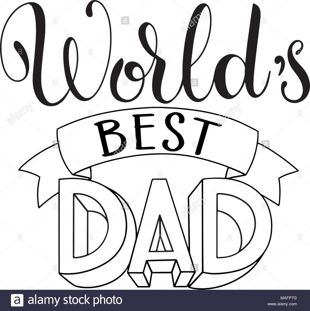 Happy Father Day Lettering. Greeting Card Design. Hand Drawn For Fathers Day Card Template