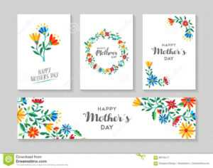 Happy Mothers Day Card And Label Floral Set Stock Vector for Mothers Day Card Templates