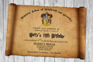 Harry Potter Papyrus Style Birthday Invitation Psd Template inside Harry Potter Certificate Template