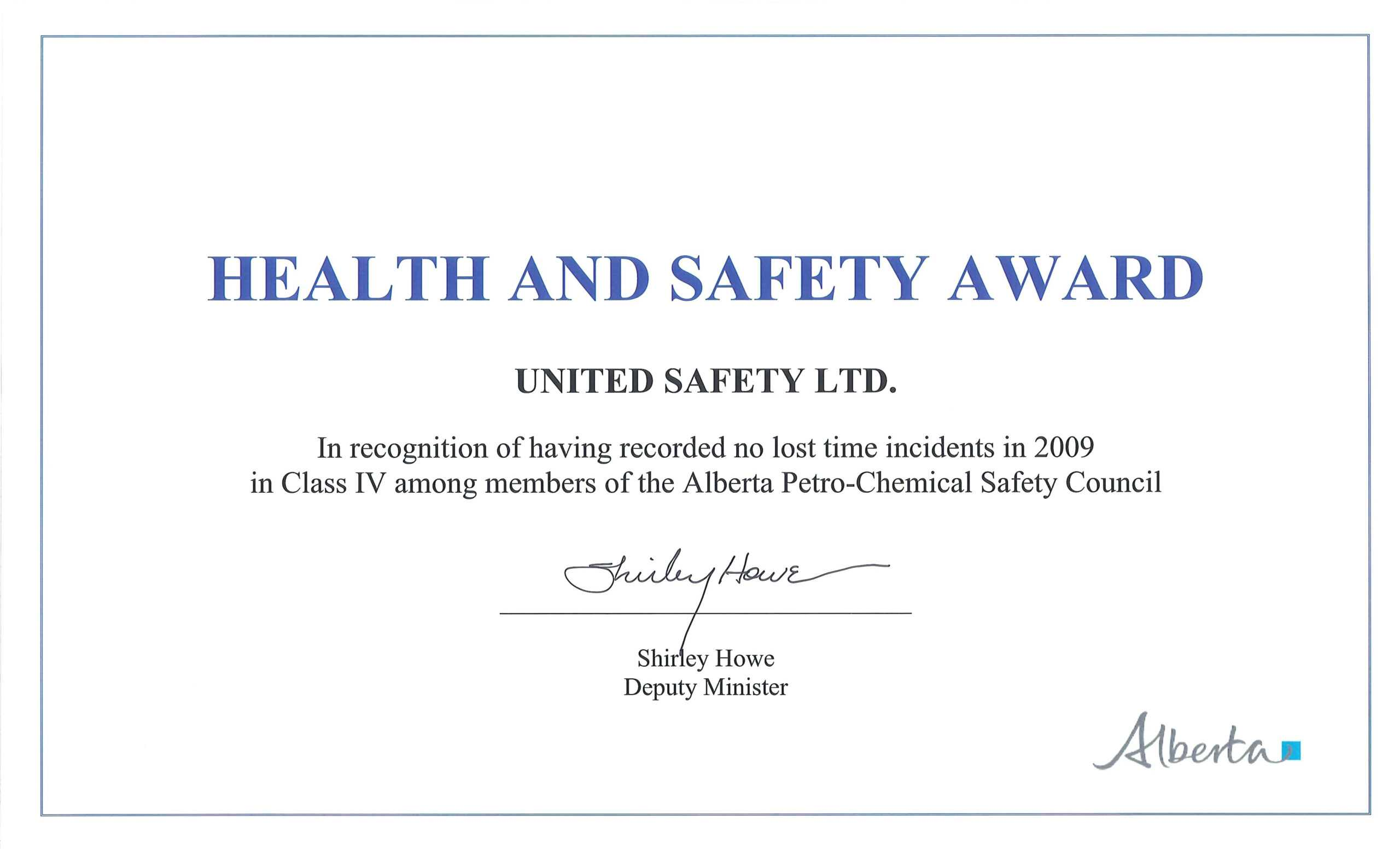 Health And Safety Certificate Template – Bestawnings In Safety Recognition Certificate Template