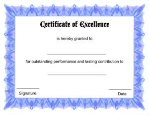 High Quality Free Award Certificate Template With Blue inside Free Printable Blank Award Certificate Templates