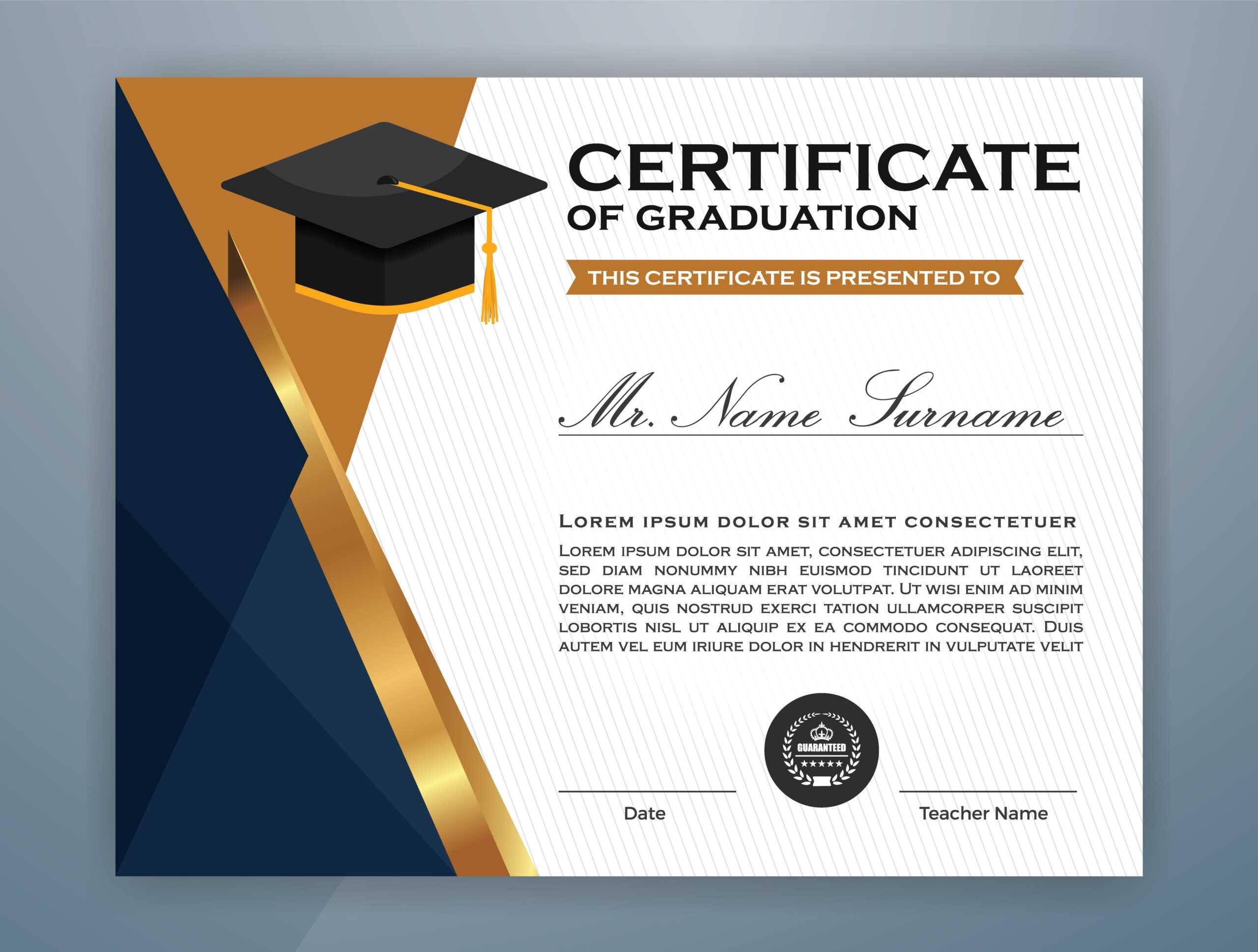 High School Diploma Certificate Template Design - Download In College Graduation Certificate Template