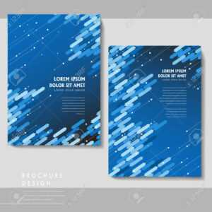 High-Tech Brochure Template Design With Blue Geometric Elements within Technical Brochure Template