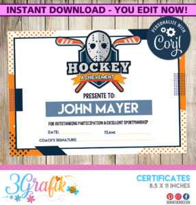Hockey – Certificate – Printable with regard to Gymnastics Certificate Template