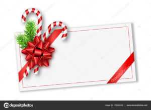 Holiday Christmas Gift Card With Red Bow, Fir Tree Branches within Present Card Template
