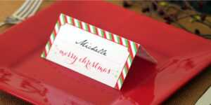 Holiday Place Card Diy Printable with Christmas Table Place Cards Template