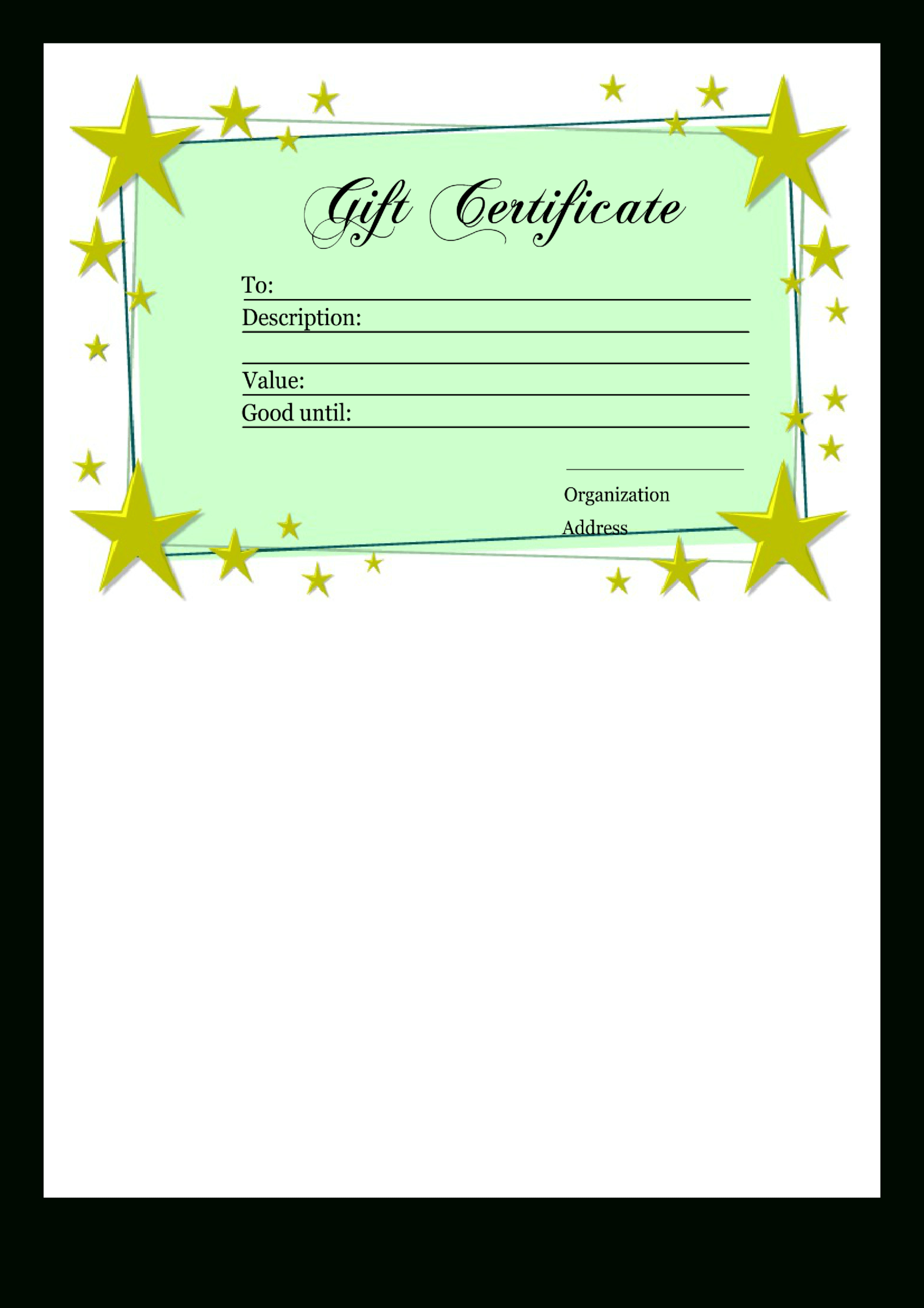 Homemade Gift Certificate Template | Templates At Throughout Homemade Gift Certificate Template