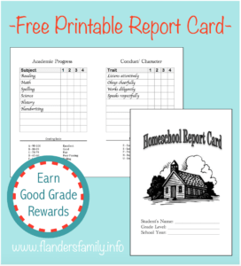 Homeschool Report Cards – Flanders Family Homelife for Homeschool Report Card Template Middle School