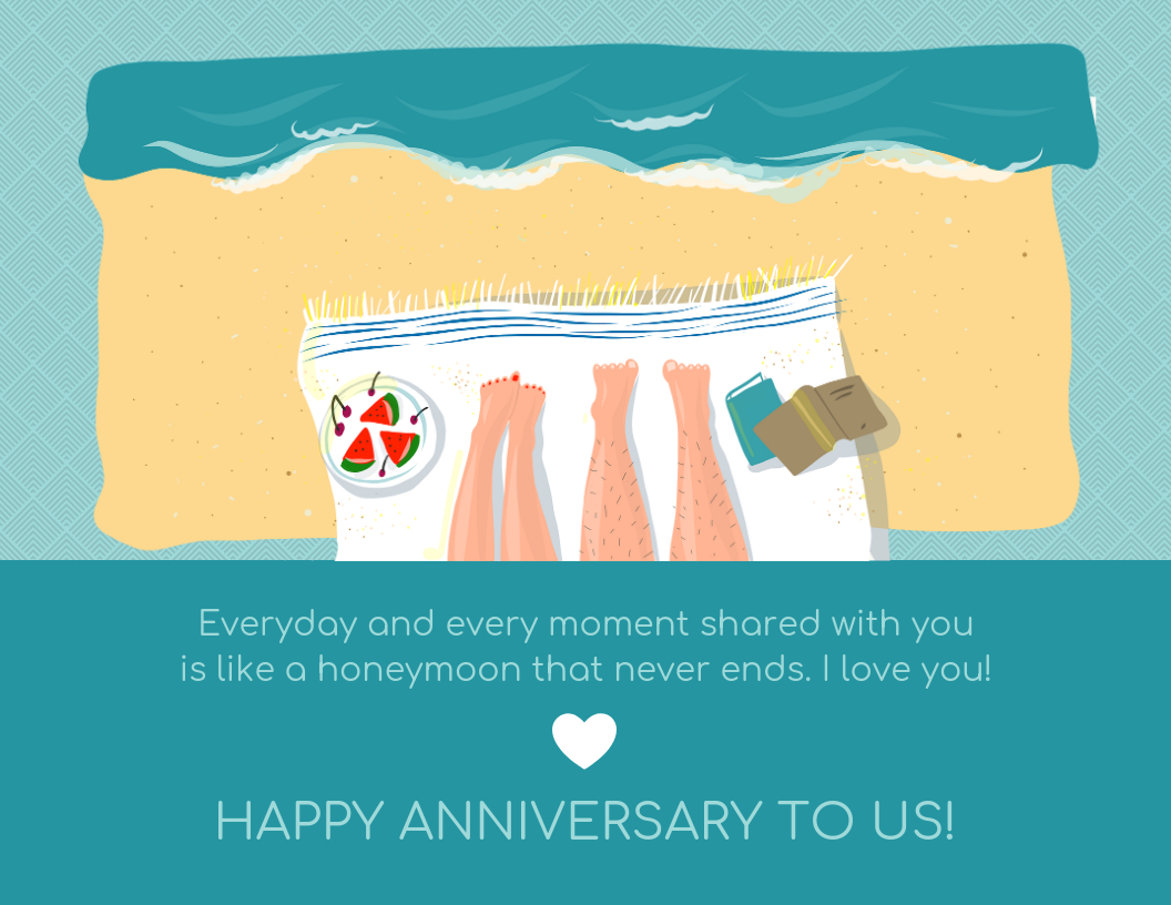 Honeymoon Wedding Anniversary Card Template Regarding Template For Anniversary Card