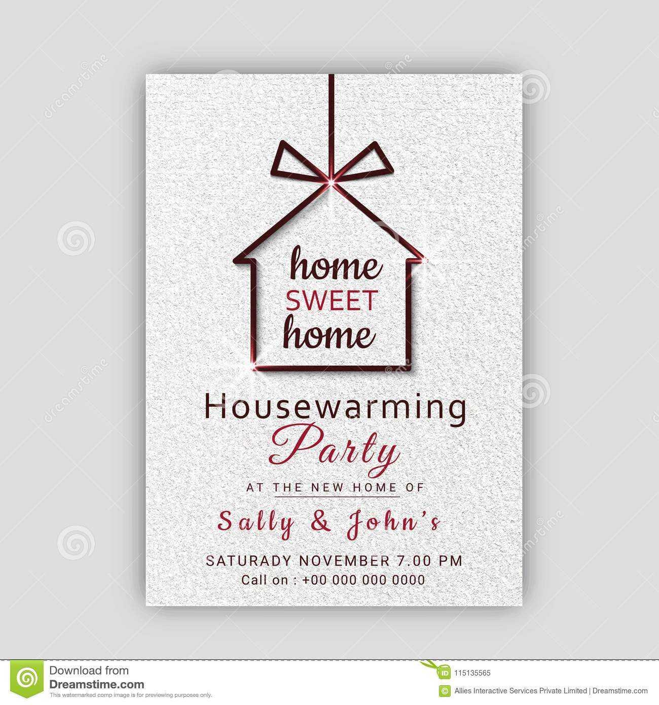 Housewarming Party Invitation Card Design. Stock In Free Housewarming Invitation Card Template