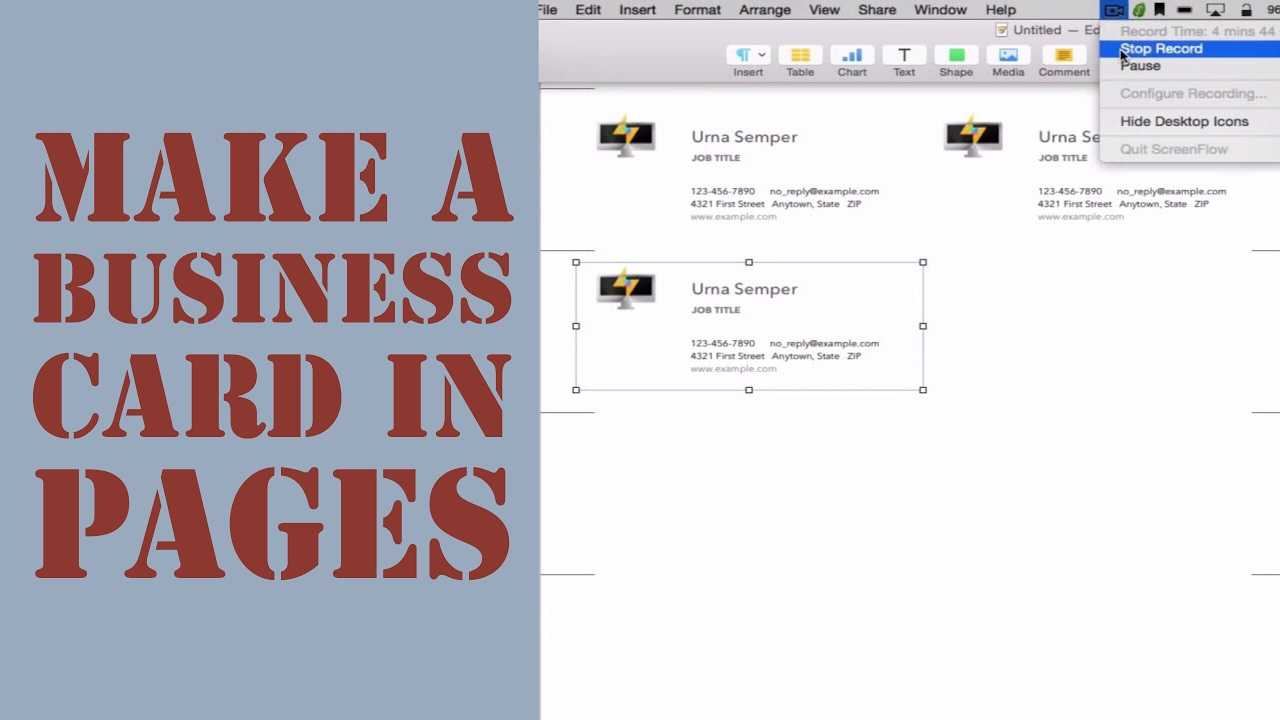 How To Create A Business Card In Pages For Mac (2014) Regarding Pages Business Card Template