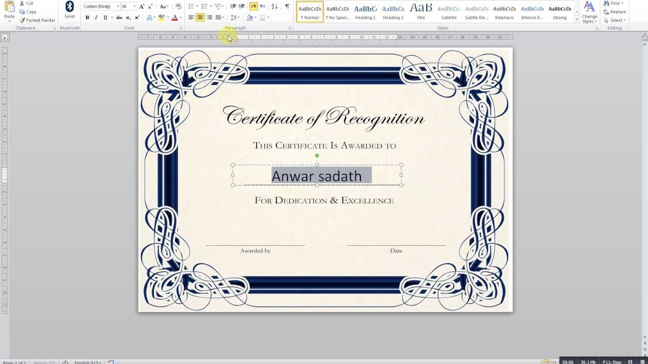 How To Create A Certificate In Ms Word With Award Certificate Templates Word 2007