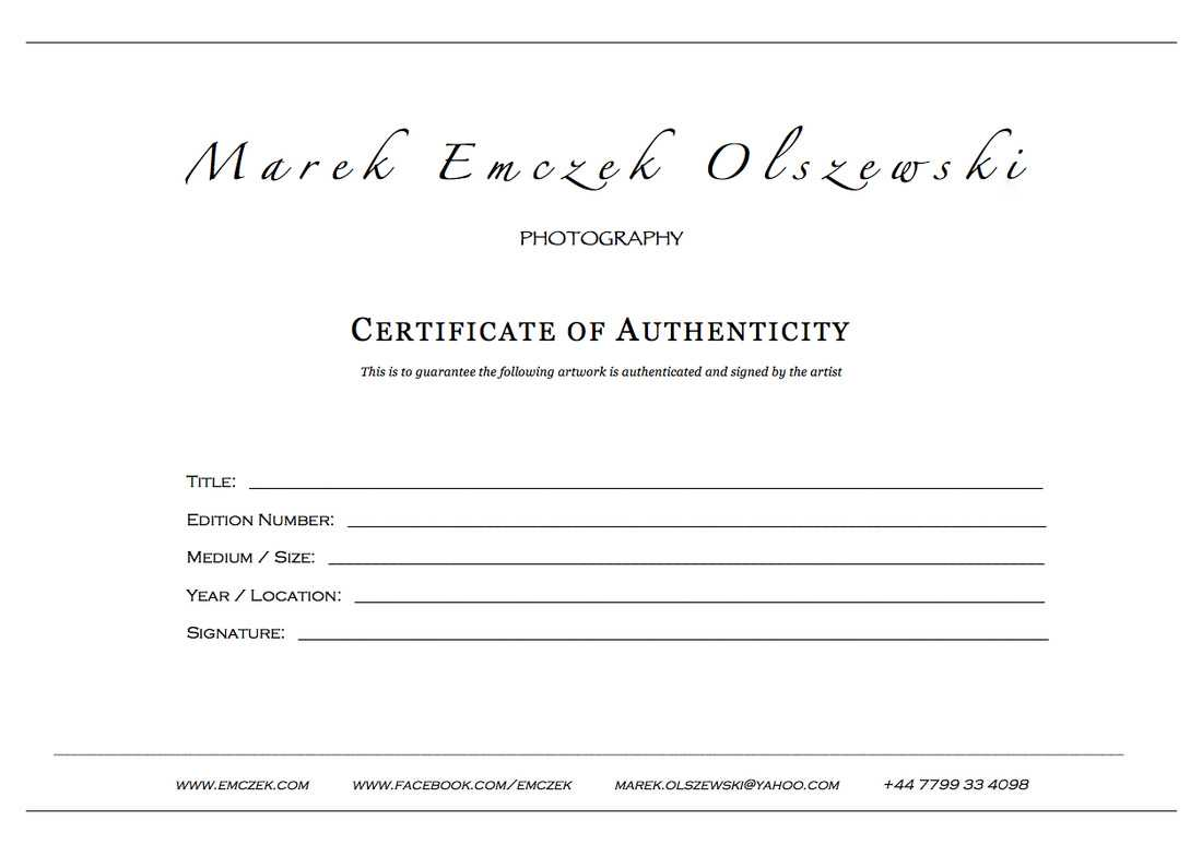 How To Create A Certificate Of Authenticity For Your Photography Throughout Photography Certificate Of Authenticity Template