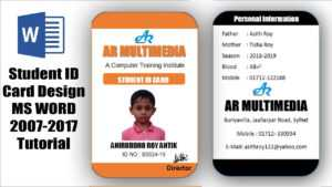 How To Create Professional Student Id Card In Ms Word 2013 Two Part Id Card  Design Microsoft Word inside High School Id Card Template