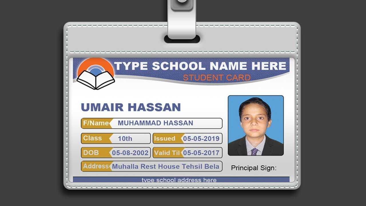 How To Design Id Card In Photoshop + Psd Free Download ~ Al Within College Id Card Template Psd