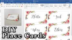 How To Make Diy Place Cards With Mail Merge In Ms Word And Adobe Illustrator intended for Fold Over Place Card Template